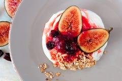 Yogurt with figs, cranberries and granola, overhead scene on gray plate. Greek yogurt with sweet figs, cranberries and granola, overhead scene on rustic Stock Image