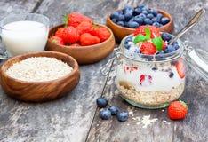Yogurt fresco con i fiocchi e le bacche dell'avena Fotografia Stock