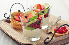Yogurt and fresh berries Stock Photo
