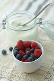 Yogurt and Fresh Berries Stock Photos