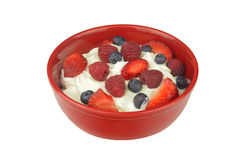Yogurt with Fresh Berries Isolated Stock Photography