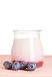 Yogurt and fresh blueberries Royalty Free Stock Photography