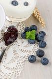 Yogurt with fresh blueberries Royalty Free Stock Image