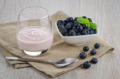 Yogurt with fresh blueberries Royalty Free Stock Images