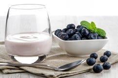 Yogurt with fresh blueberries Royalty Free Stock Photos