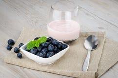 Yogurt with fresh blueberries Stock Image
