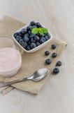 Yogurt with fresh blueberries Royalty Free Stock Photography