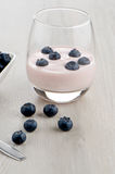 Yogurt with fresh blueberries Royalty Free Stock Image