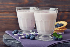 Yogurt with fresh blueberry Stock Image
