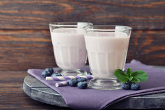 Yogurt with fresh blueberry Stock Images