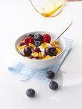 Yogurt with fresh Fruit and Granola. Yogurt with Blueberries, Raspberries, Plum, Strawberries and Granola with Pouring Honey from a Bowl Stock Photos