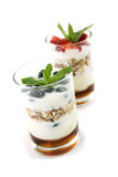 Yogurt and fresh fruits Royalty Free Stock Photo