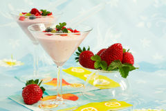 Yogurt with fresh fruits. Low calorie eating royalty free stock photos