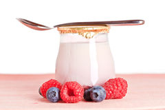Yogurt and fresh raspberries and blueberries Royalty Free Stock Image