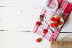 Yogurt with fresh strawberries Stock Photo