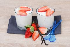 Yogurt with fresh strawberries Royalty Free Stock Images