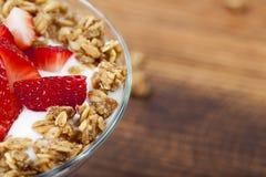Yogurt. Fresh Strawberry yogurt parfait for breakfast royalty free stock photo