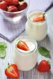 Yogurt with fresh strawberry Royalty Free Stock Photo