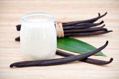 Yogurt and fresh vanilla beans. Glass container of yogurt with fresh vanilla beans on leaf and bamboo mat Royalty Free Stock Photos
