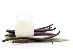 Yogurt and fresh vanilla beans. Glass container of yogurt with fresh vanilla beans and leaf on white background Stock Photos