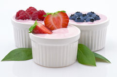 Yogurt and Fruit. Yogurt and Freshness Fruit in White Bowl stock image