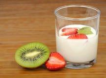 Yogurt with fruit Stock Images