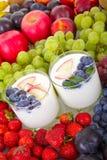 Yogurt with fruit Stock Photo