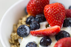 Yogurt and fruit breakfast bowl. Healthy food. stock images