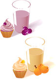 Yogurt, fruit and cake. The illustration shows the plum and apricot yogurt in a glass, fruit and cake. Made  on white background, on separate layers Royalty Free Stock Images