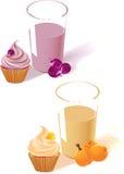 Yogurt, fruit and cake Royalty Free Stock Images