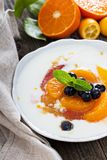 Yogurt with fruit compote Royalty Free Stock Images