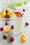 Yogurt with fruit Stock Photos