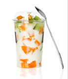 Yogurt with fruit in a glass Royalty Free Stock Photography
