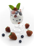 Yogurt and fruit on white Royalty Free Stock Photos