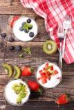 Yogurt and fruit Royalty Free Stock Images