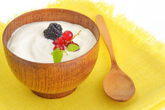Yogurt with fruits. Details work in studio royalty free stock photo