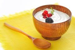 Yogurt with fruits Royalty Free Stock Photos