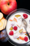 Yogurt with fruits. Glass bowl filled with yogurt mixed with fruit pieces arranged with spoon and some fruits around isolated on black background Royalty Free Stock Images