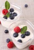 Yogurt and fruits Stock Photos