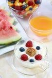 Yogurt with fruits Stock Photos