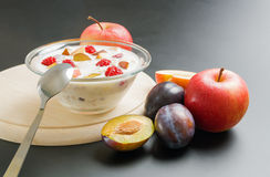 Yogurt with fruits Stock Photos