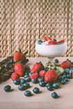 Yogurt and fruits royalty free stock image
