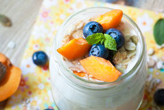 Yogurt with fruits. Royalty Free Stock Photo