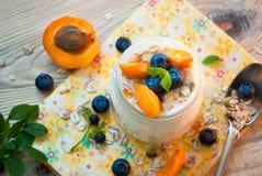 Yogurt with fruits. Royalty Free Stock Photography