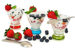 Yogurt and fruits parfait Stock Images