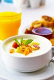 Yogurt with fruits Stock Images