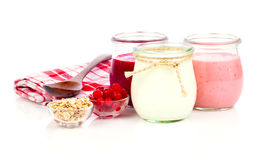 Yogurt in a glass jars Royalty Free Stock Photos
