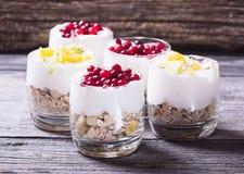 Yogurt in glass Stock Photos