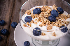 Yogurt with granola and blueberries. Royalty Free Stock Images