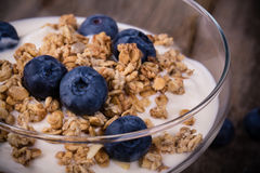 Yogurt with granola and blueberries. Stock Photography